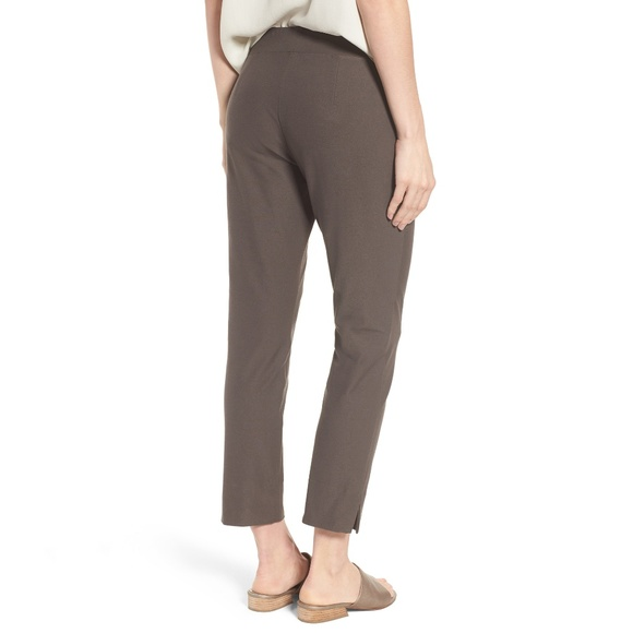 XL NWT EILEEN FISHER ASH WASHABLE STRETCH CREPE SLIM ANKLE PANTS
